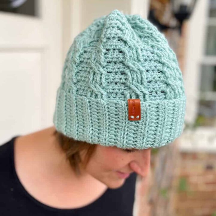Neo Mint Crochet Cable Hat 4