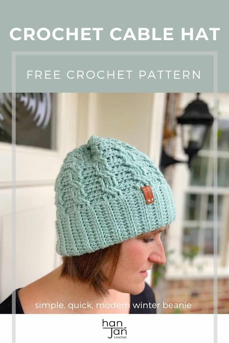 woman wearing mint green simple crochet cable hat, a winter beanie