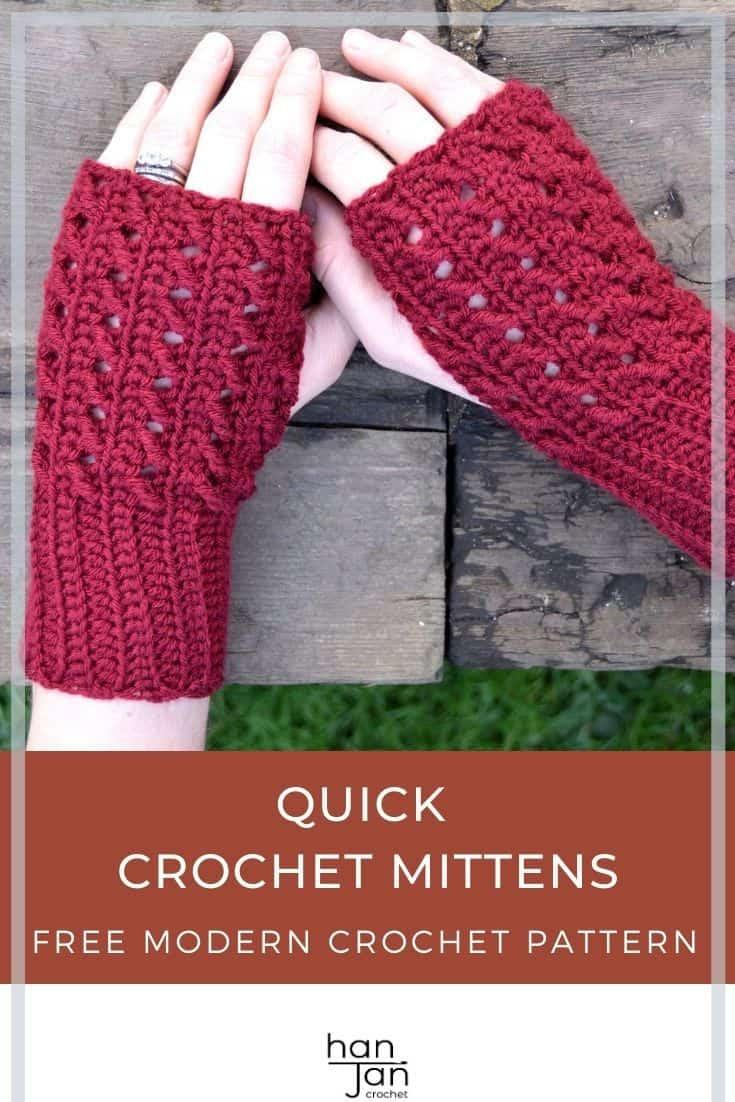 dark red fingerless easy crochet mittens