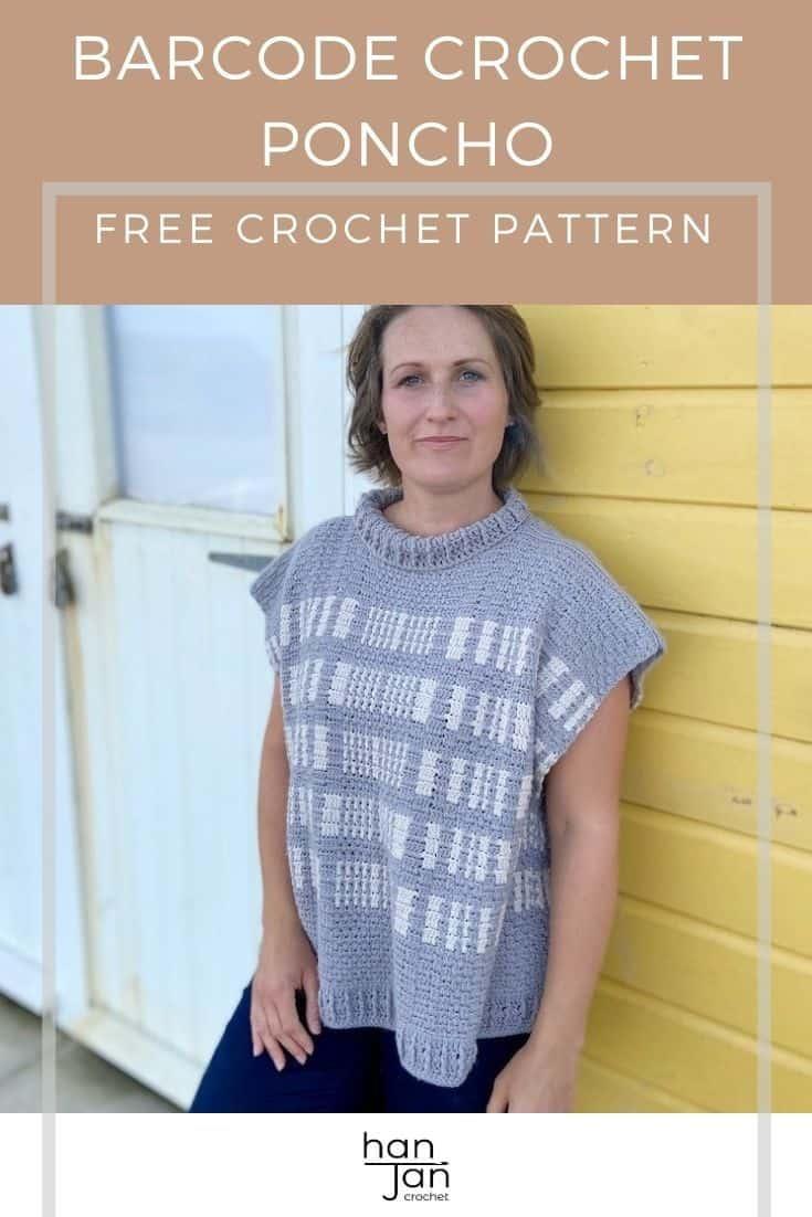 Free Crochet Poncho Pattern The Barcode Poncho 1