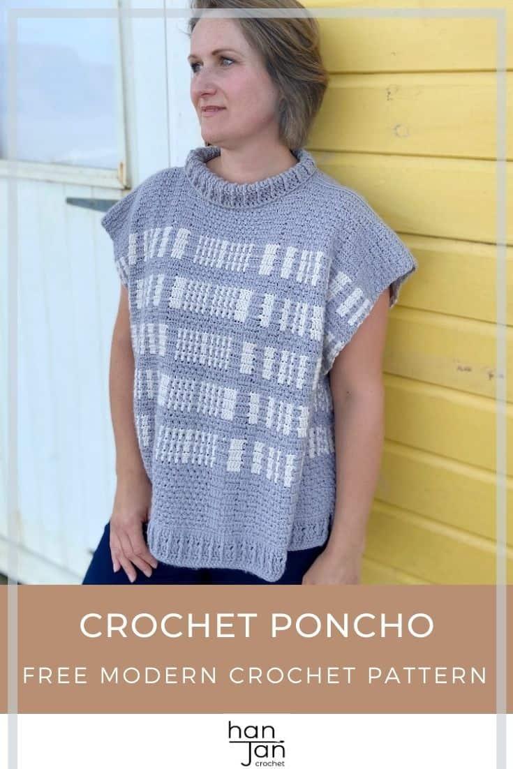 Free Crochet Poncho Pattern The Barcode Poncho 3