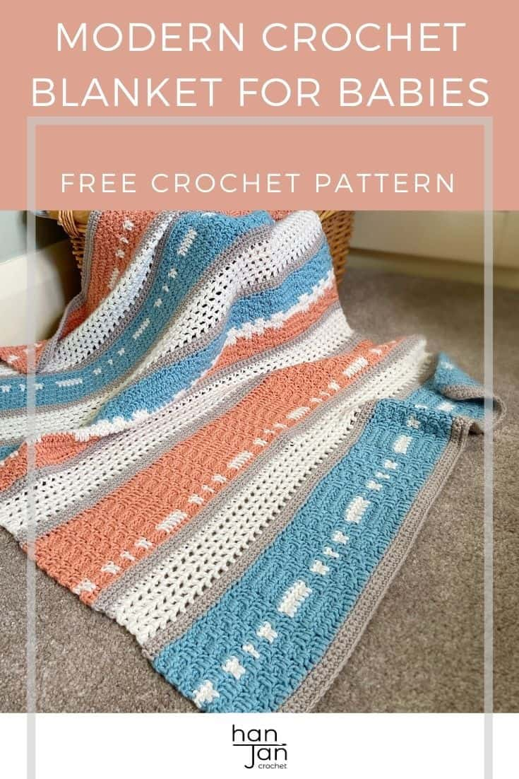 modern crochet blanket for babies draped over a basket