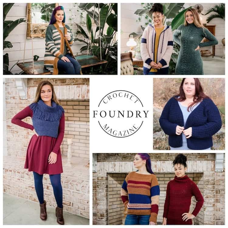 collection of images showing models wearing crochet foundry winter crochet garments
