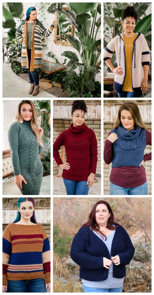 7 women wearing winter crochet garments from the crochet foundry
