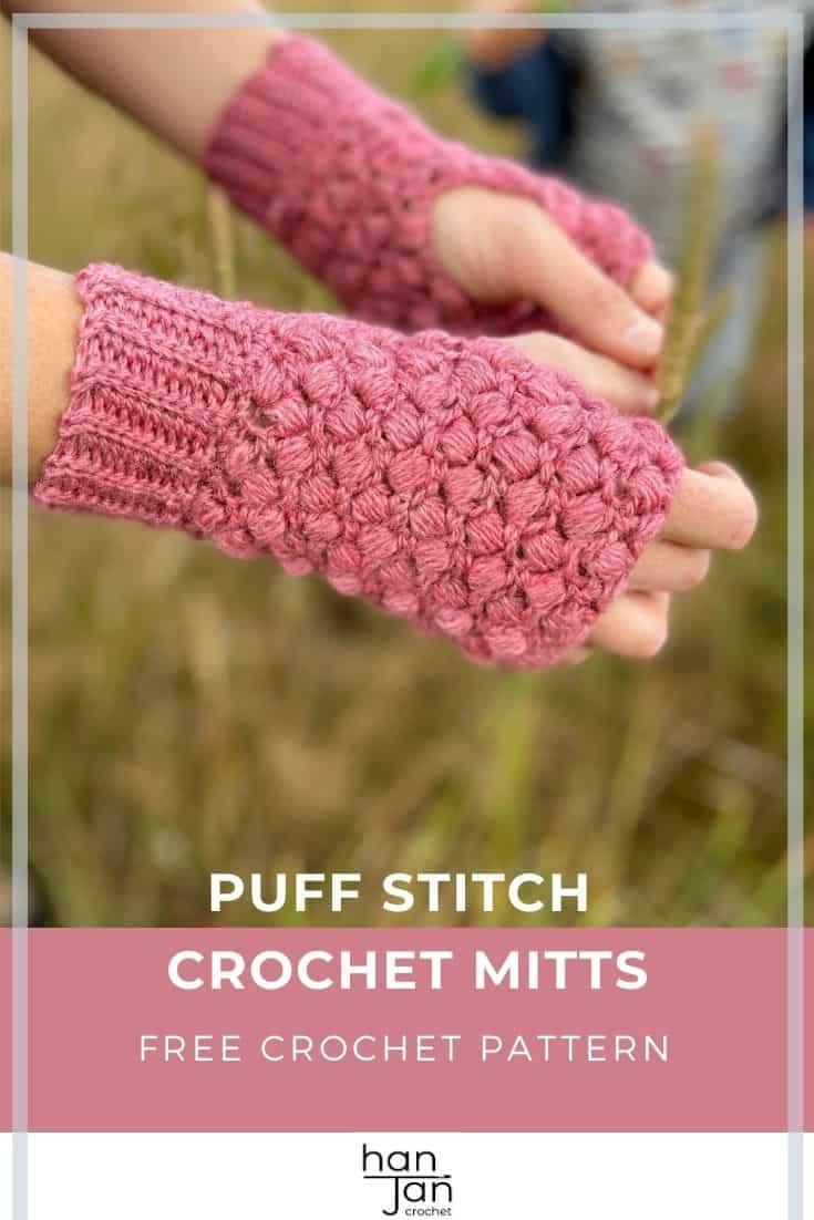 Quick Puff Stitch Crochet Mittens A free crochet pattern 3