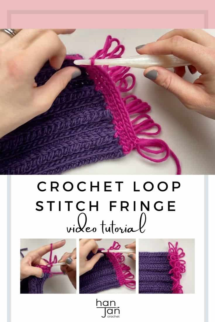 hands showing crochet loop stitch fringe in pink chunky yarn