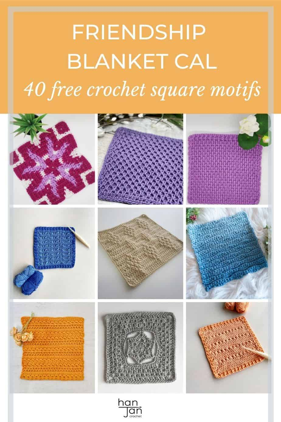 collection of crochet square motifs in bright and happy colours