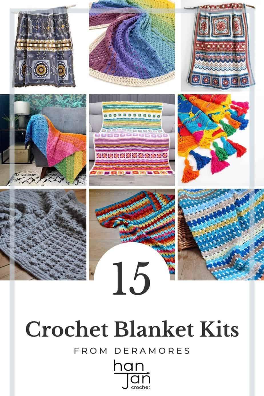 nine colourful crochet blankets