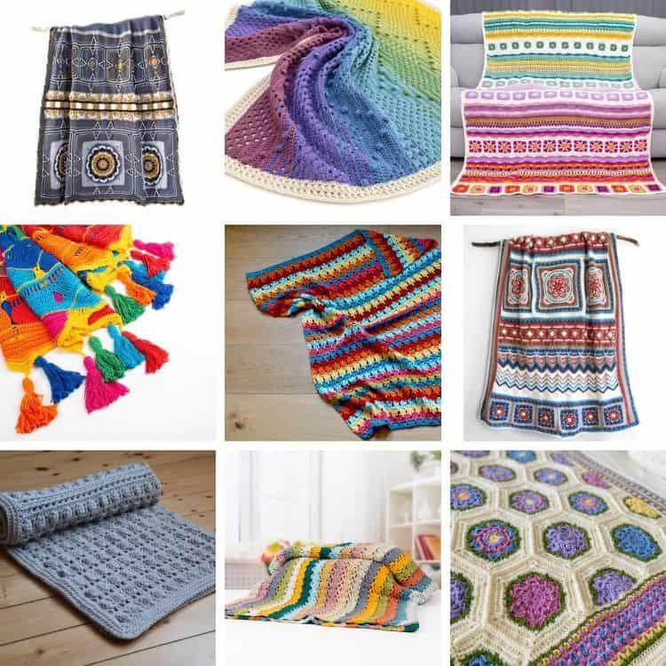 image of nine colourful crochet blanket pattern kits