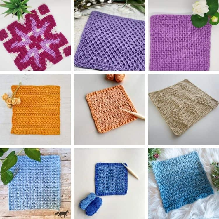image of 9 crochet squares in lots of colours to make a crochet blanket