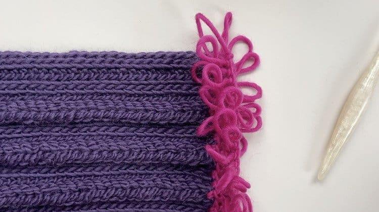 crochet loop stitch fringe in pink chunky yarn