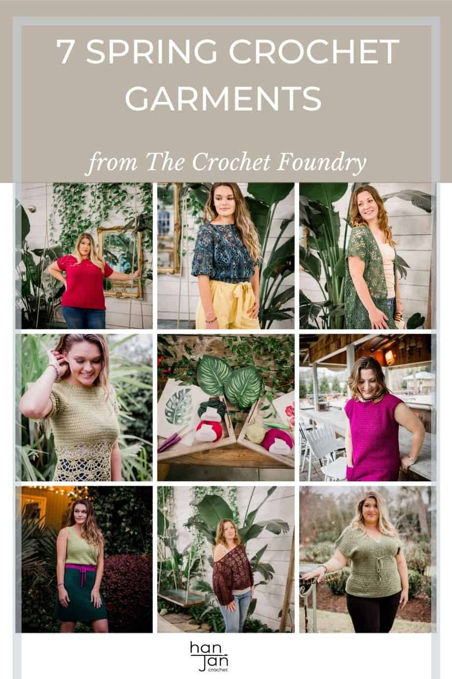 spring crochet garment collection modelled by plus size women