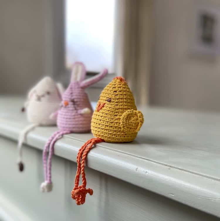 amigurumi crochet bunny, chick and lamb toys with dangly legs