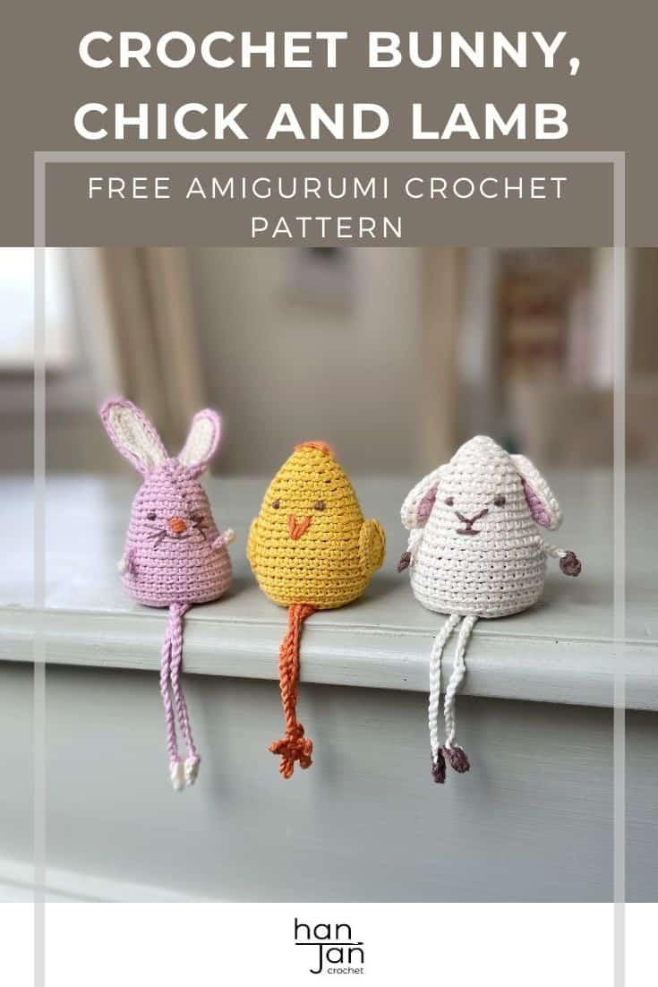 amigurumi crochet bunny, chick and lamb sitting on edge of shelf