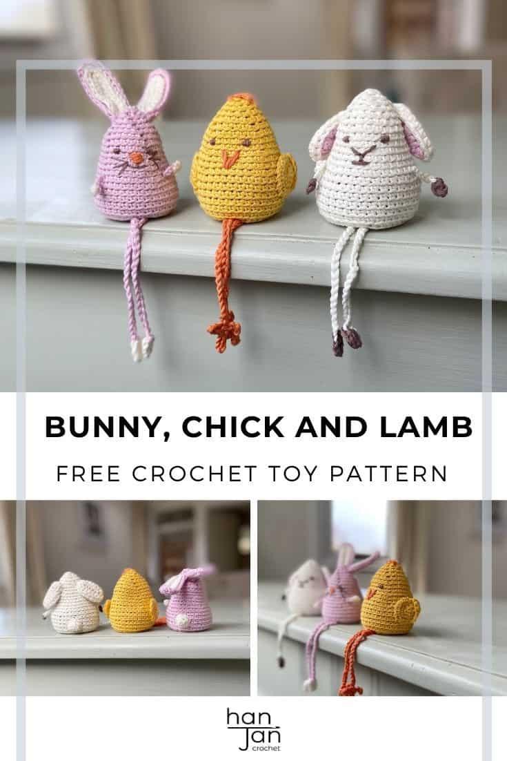 cute crochet toys, bunny, chick and lamb using amigurumi method