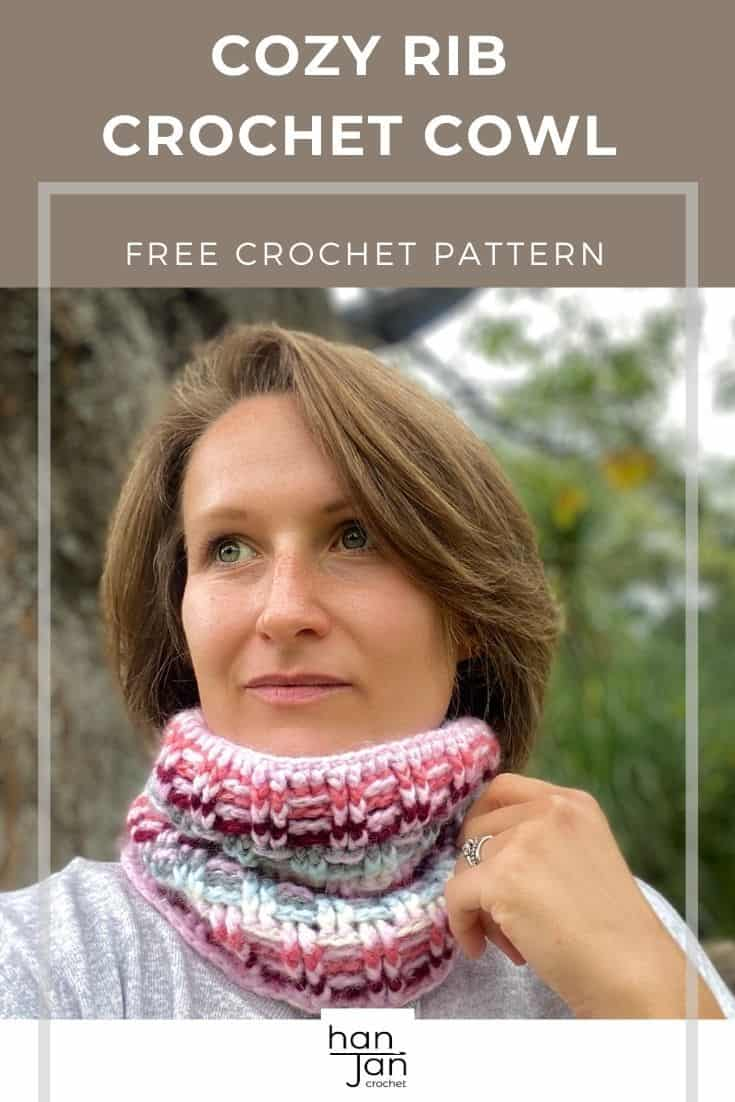 woman wearing colourful crochet cowl