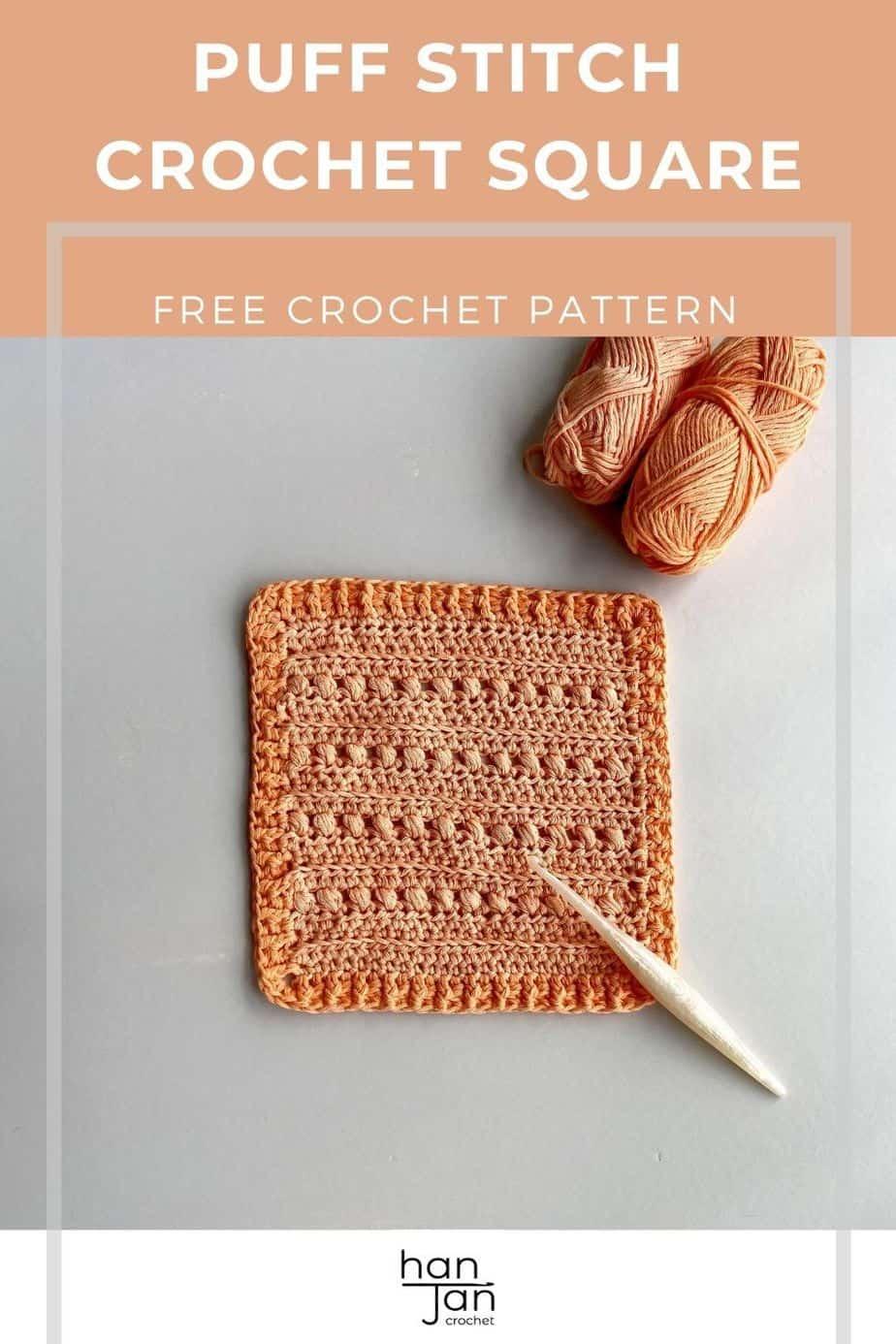 Cross Puff Stitch Crochet Square Pattern pin 1