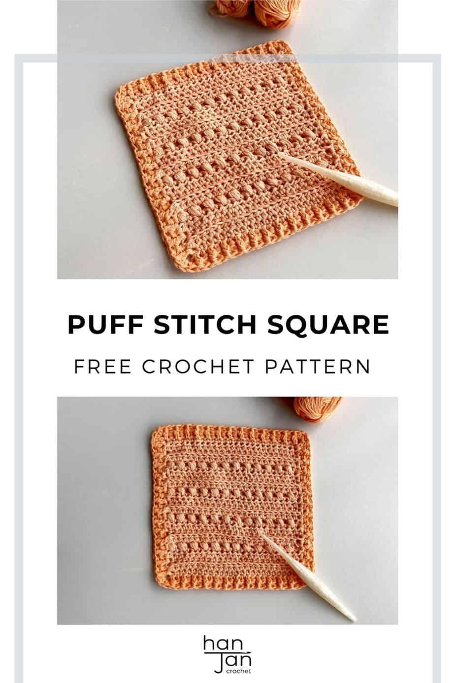 Cross Puff Stitch Crochet Square Pattern pin 2