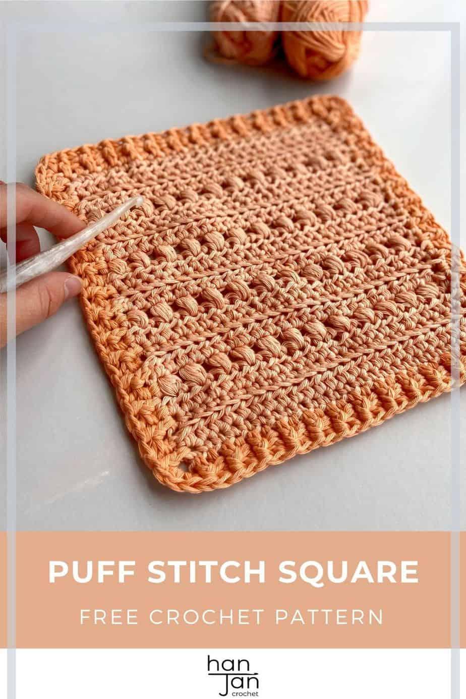 Cross Puff Stitch Crochet Square Pattern pin 3