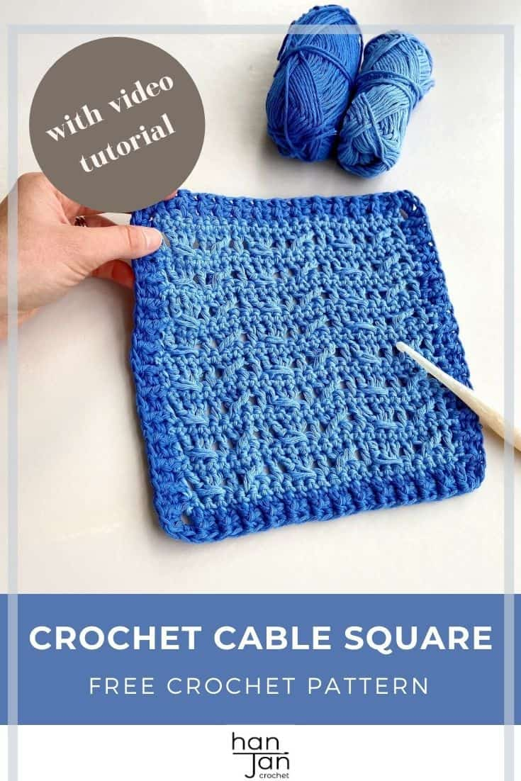 crochet cable stitch square in blue with yarn and hook