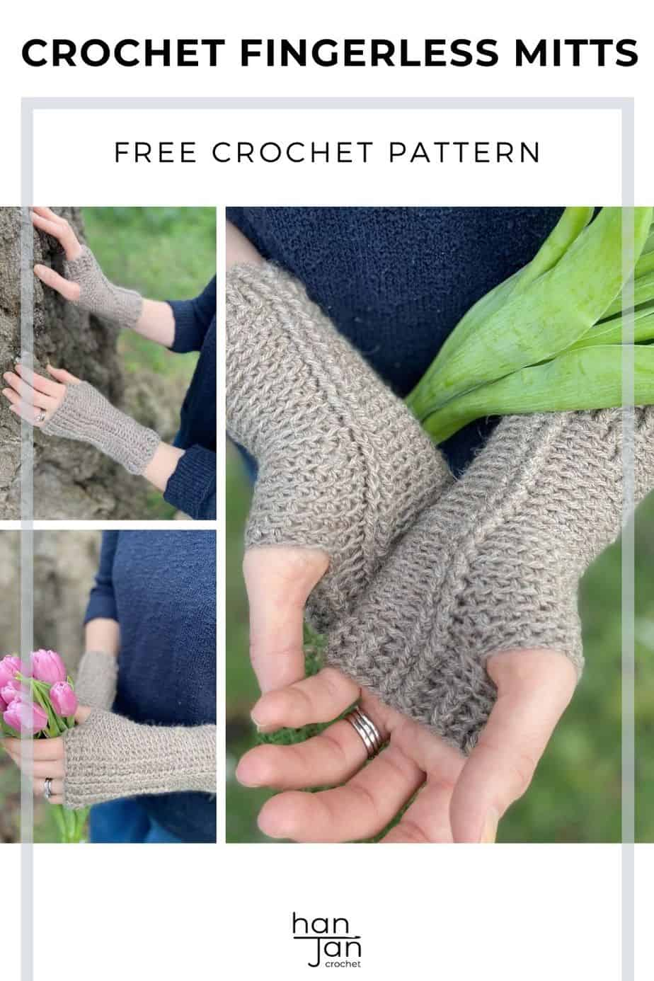 Holbourne Mitts Crochet Hand Warmers Pattern Pin 2