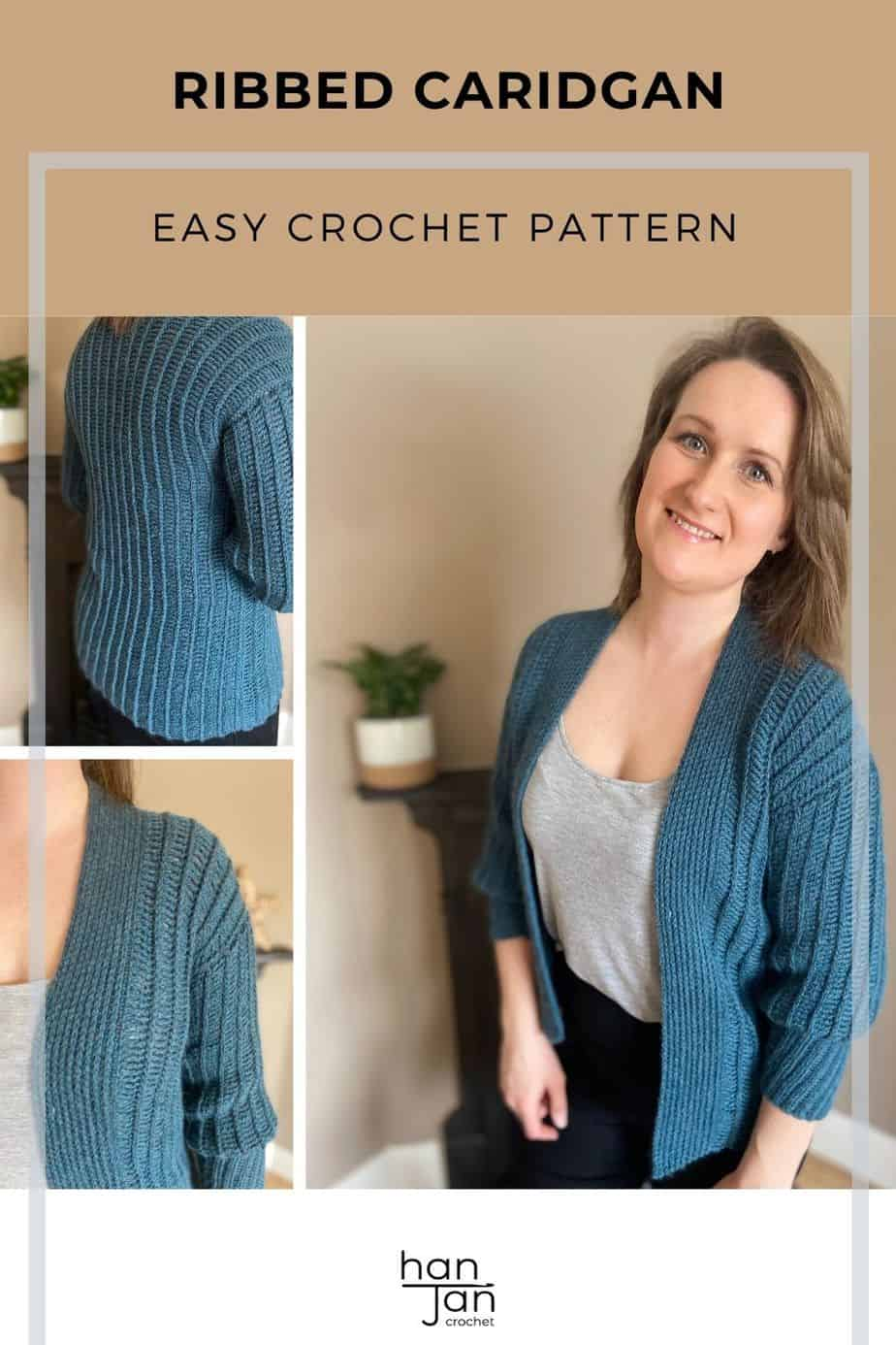 Sydney Cardigan knit look crochet pattern pin 2