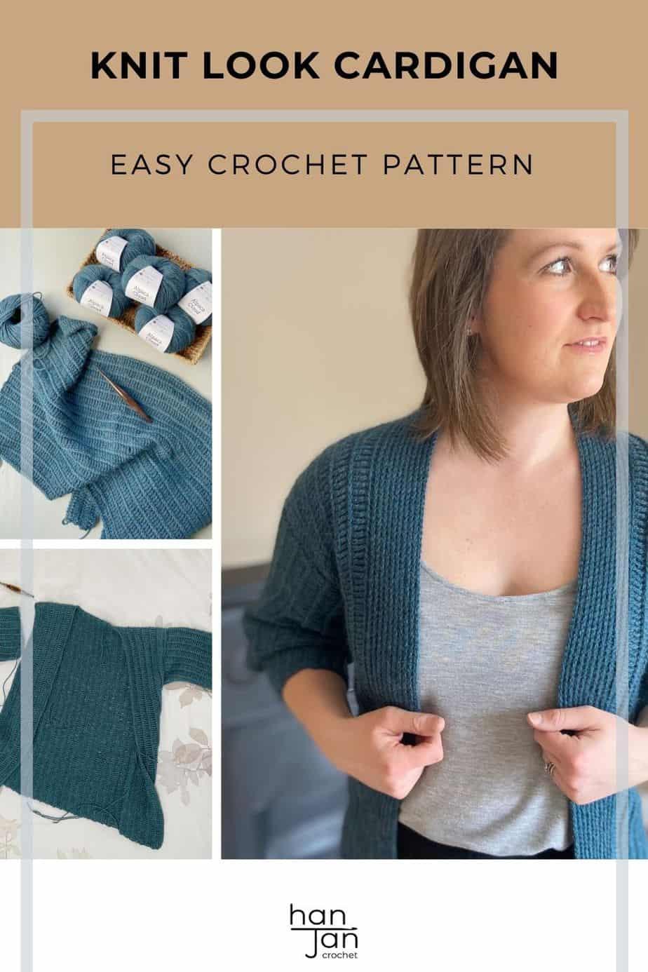 Sydney Cardigan knit look crochet pattern pin 3