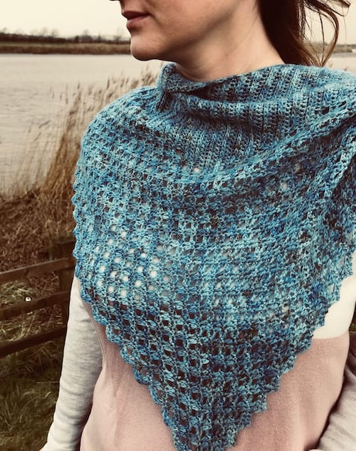Crochet for Me Blue Star Crochet Caught By The Sea Shawlette 1