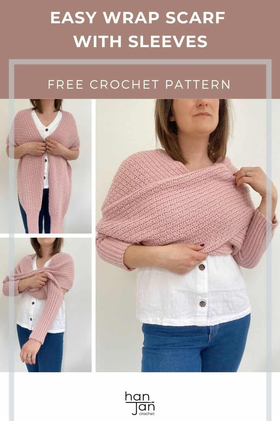 Eleanor Scarf with sleeves crochet pattern pin 3 1