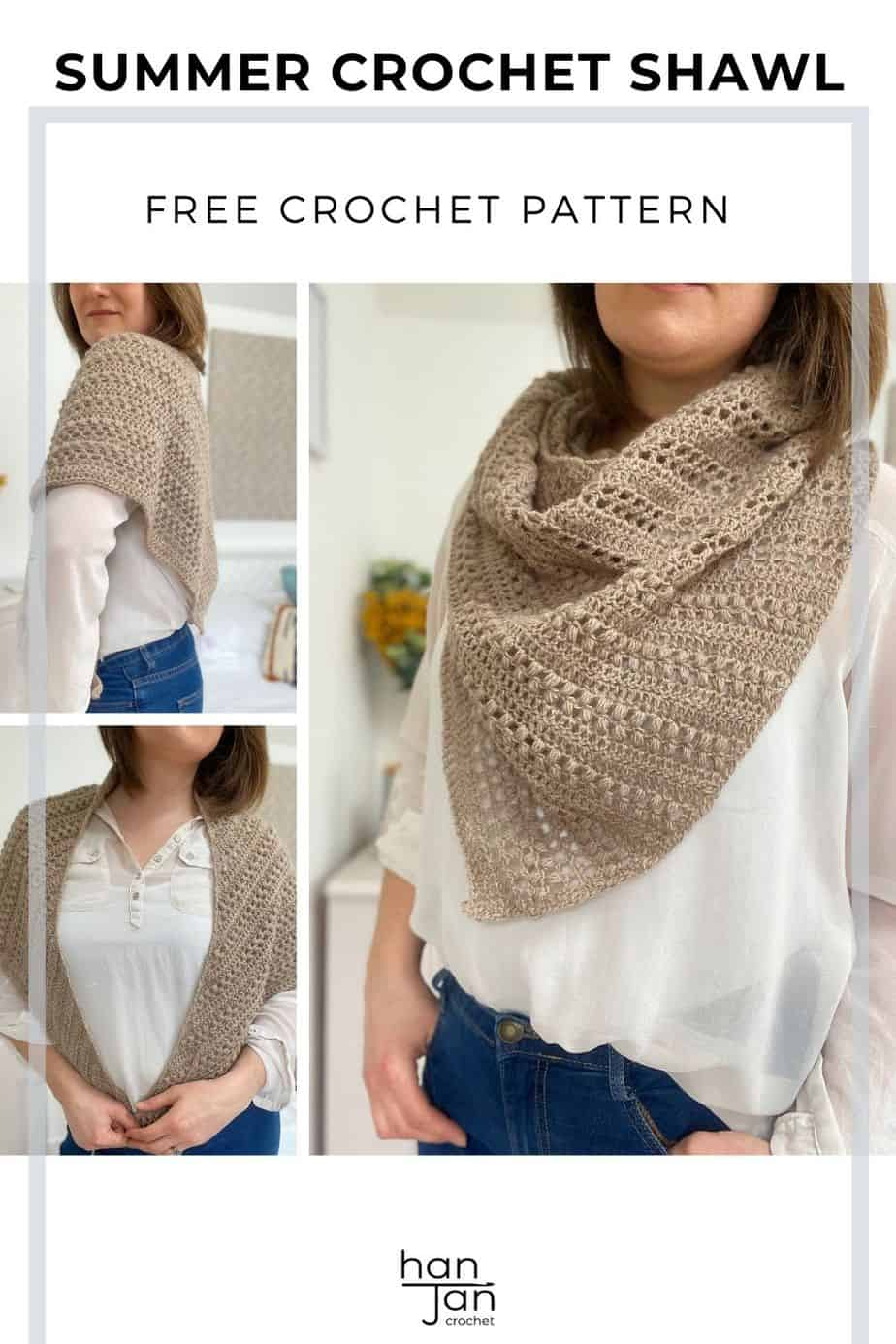 three images of woman wearing a beige boomerang crochet shawl with puff stitch detail.