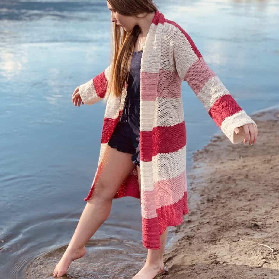 Lyndie striped crochet cardigan for summer pattern
