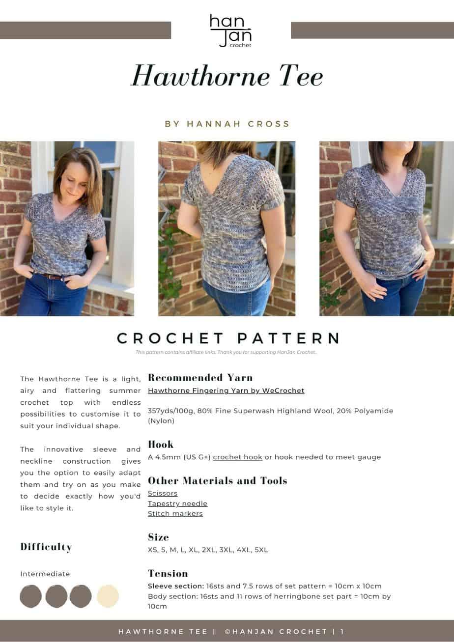 DRAFT Hawthorne Tee PDF Crochet Pattern