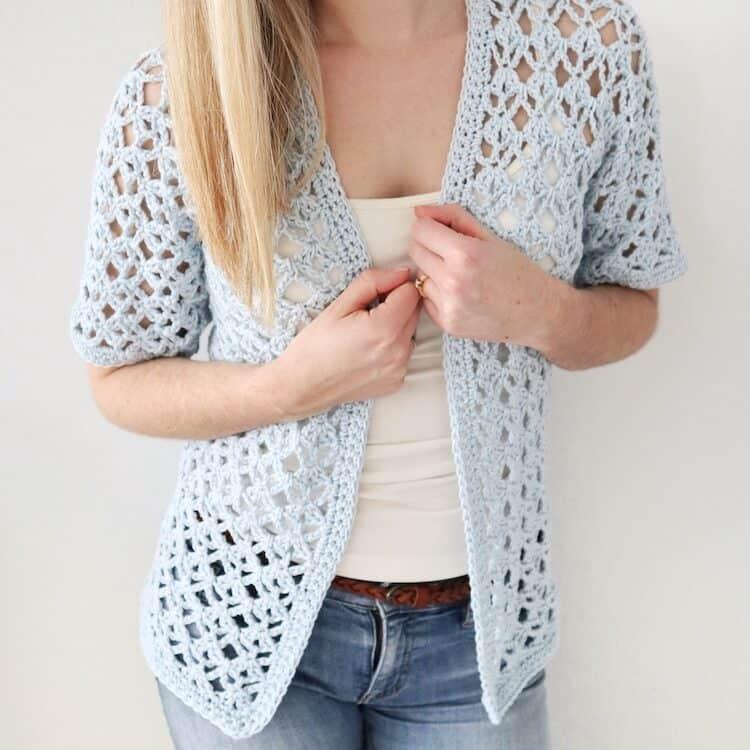 Tulip lace short sleeve crochet cardigan pattern