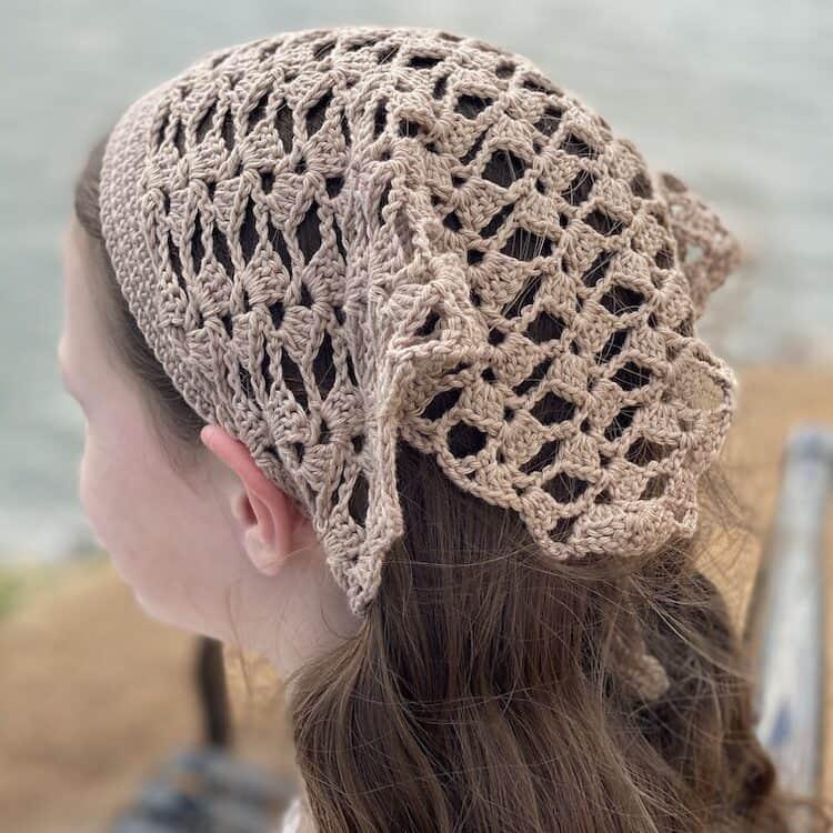 Marietta lace crochet head kerchief pattern