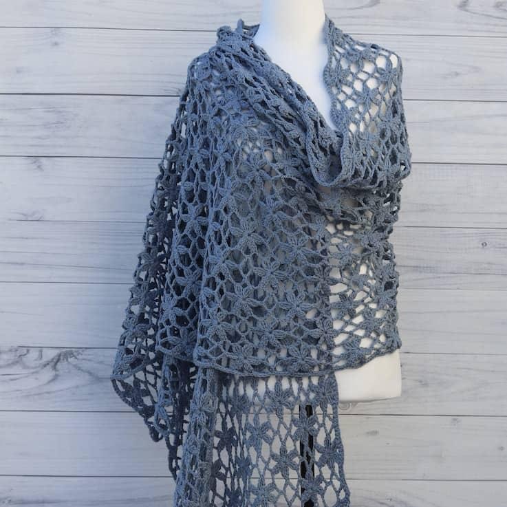 Blue Orchid shawl, summer wedding crochet shawl pattern
