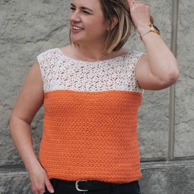 Sarah Tee, summer crochet tee pattern