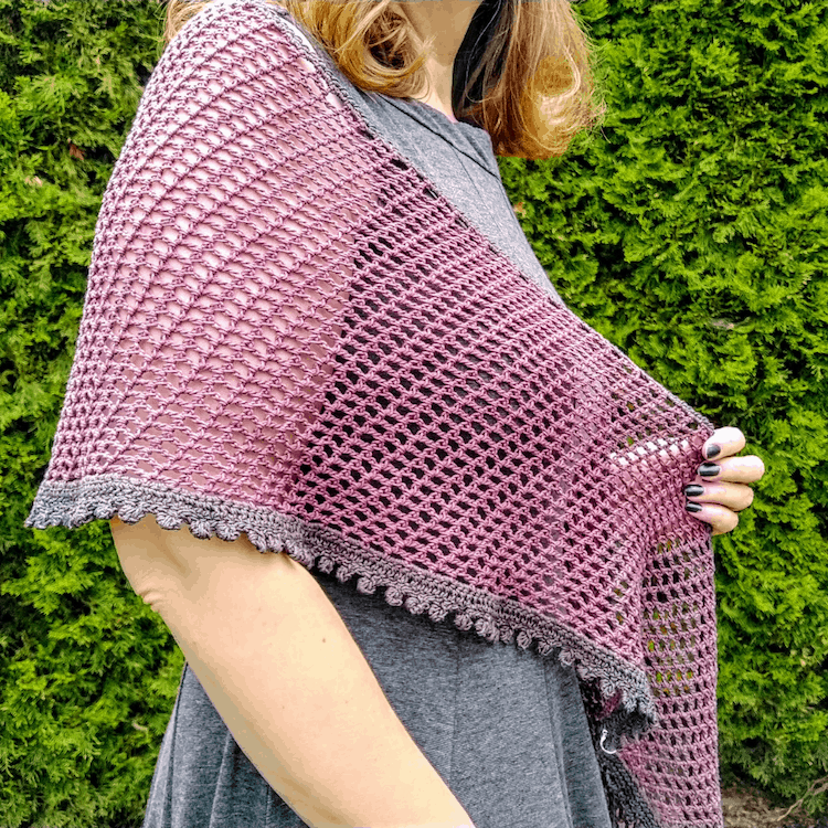 pink and grey crochet summer shawl pattern