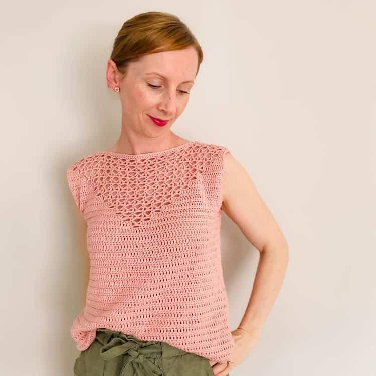 flamingo pink crochet lace summer top pattern