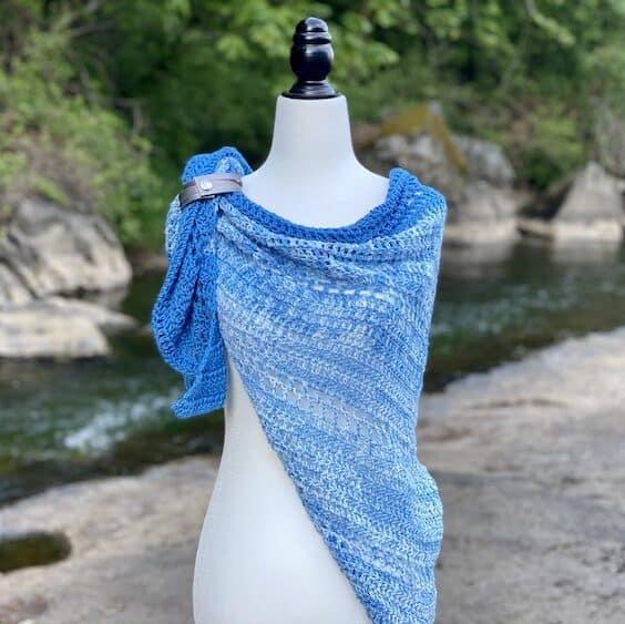 Riverside shawl, blue lace crochet shawl pattern