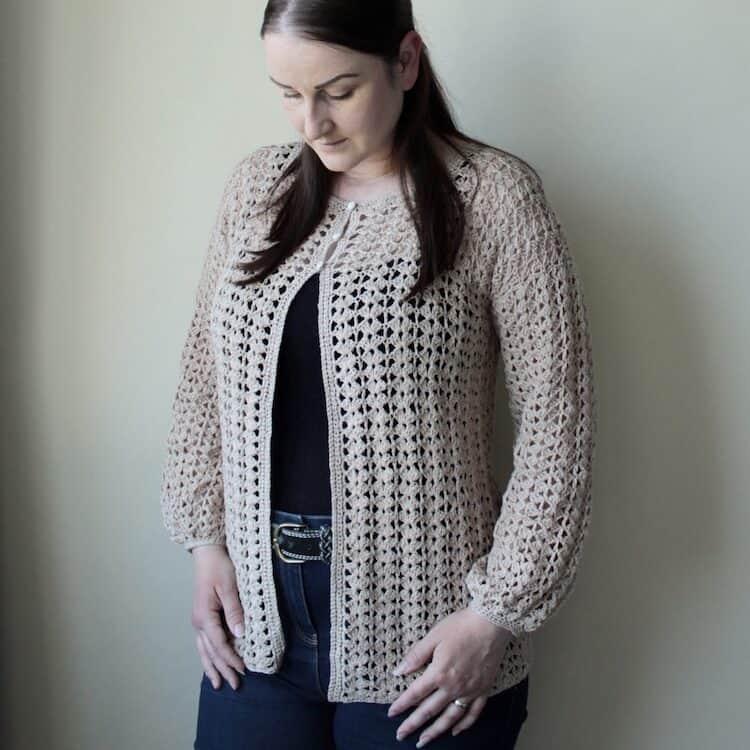 lace balloon sleeve crochet cardigan pattern