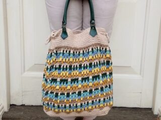 overlay mosaic crochet tote bag for summer with green handles