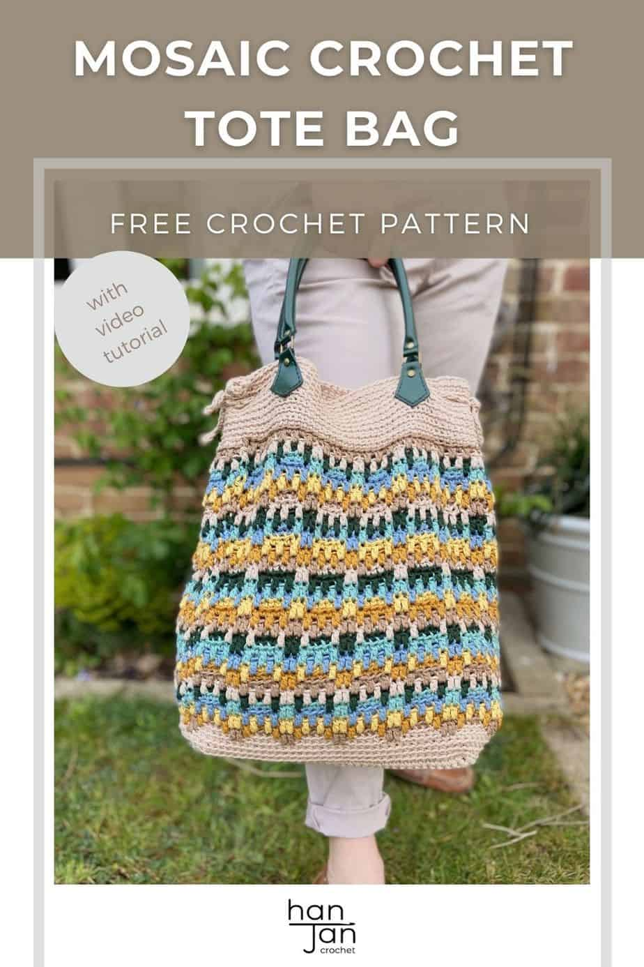 image of summer crochet tote bag with green handles against woman's legs