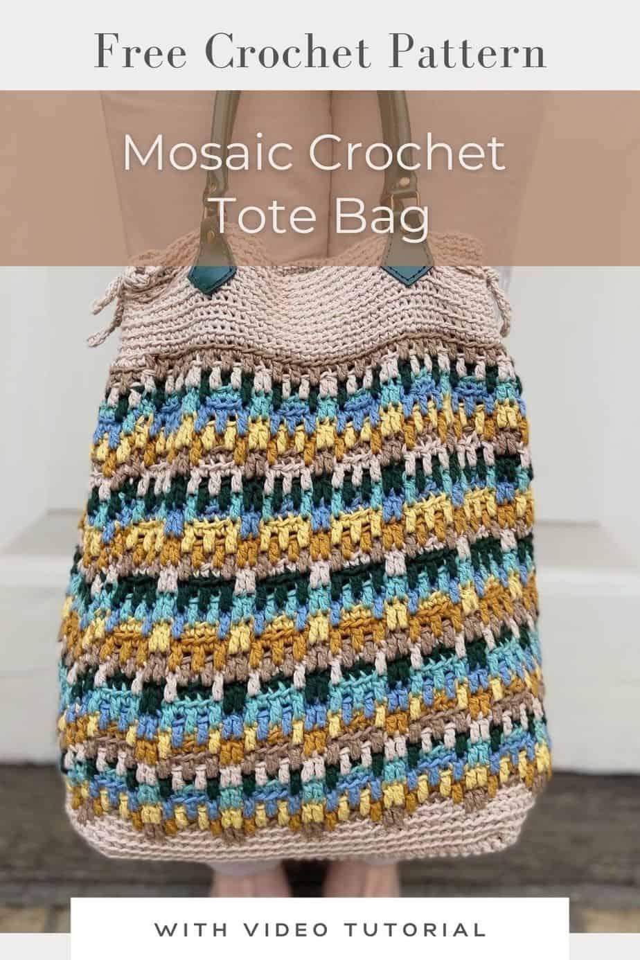 mosaic crochet tote bag with green handles