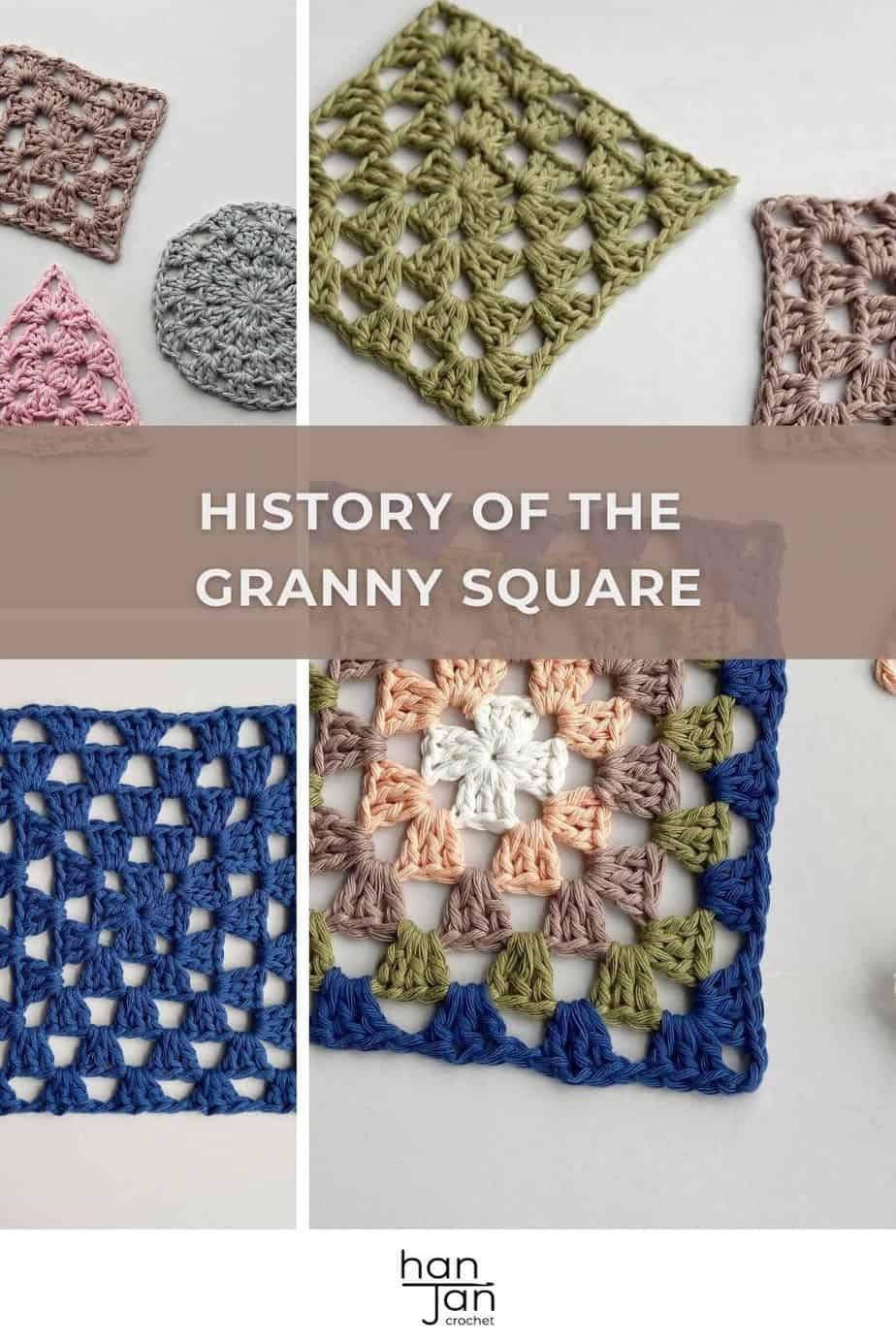 3 images showing different types of granny squares, triangle, circle and square