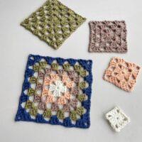 5 different size crochet granny squares