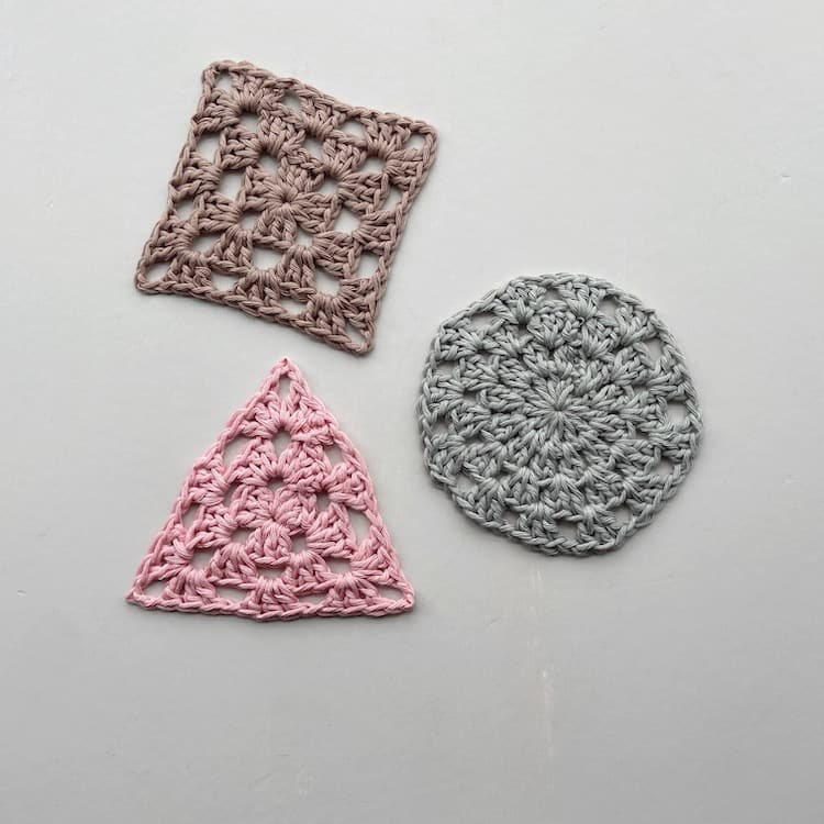 circle, triangle and square crochet granny squares in cotton yarn