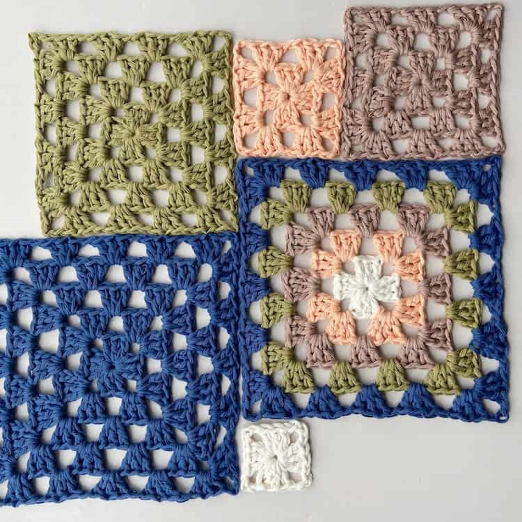 6 different crochet granny squares laid out in grid pattern