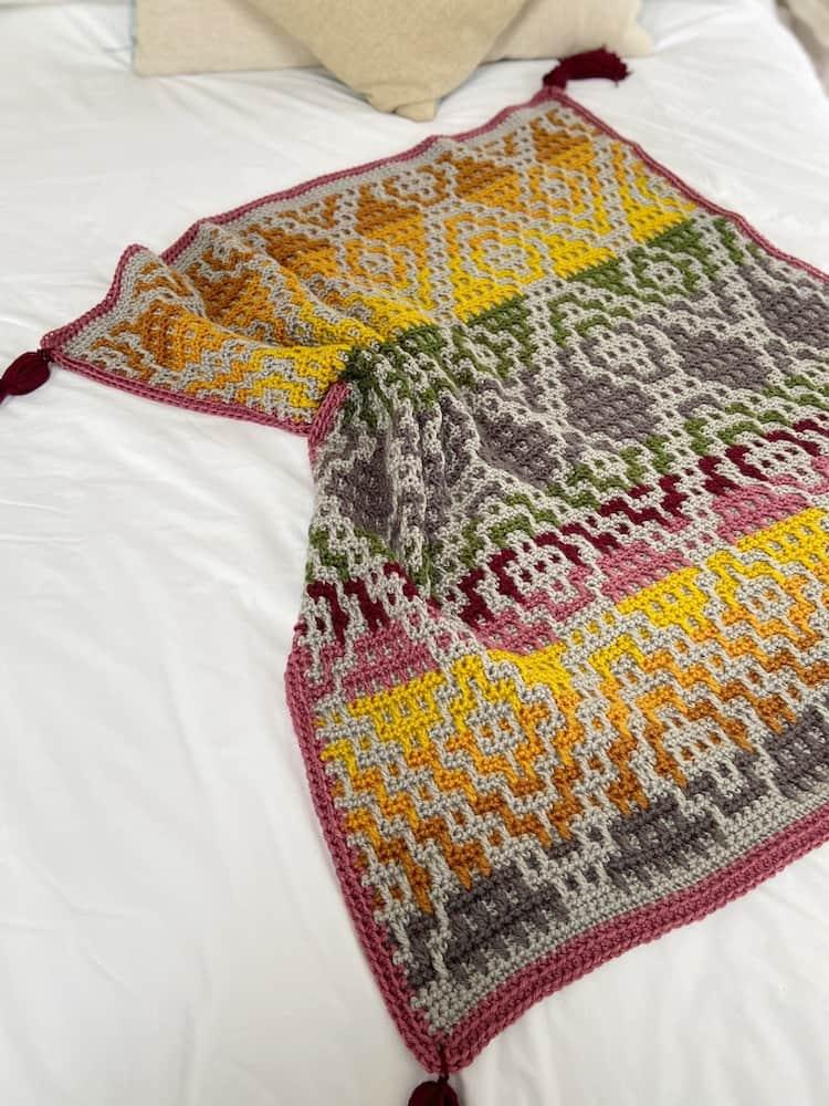large mosaic crochet blanket