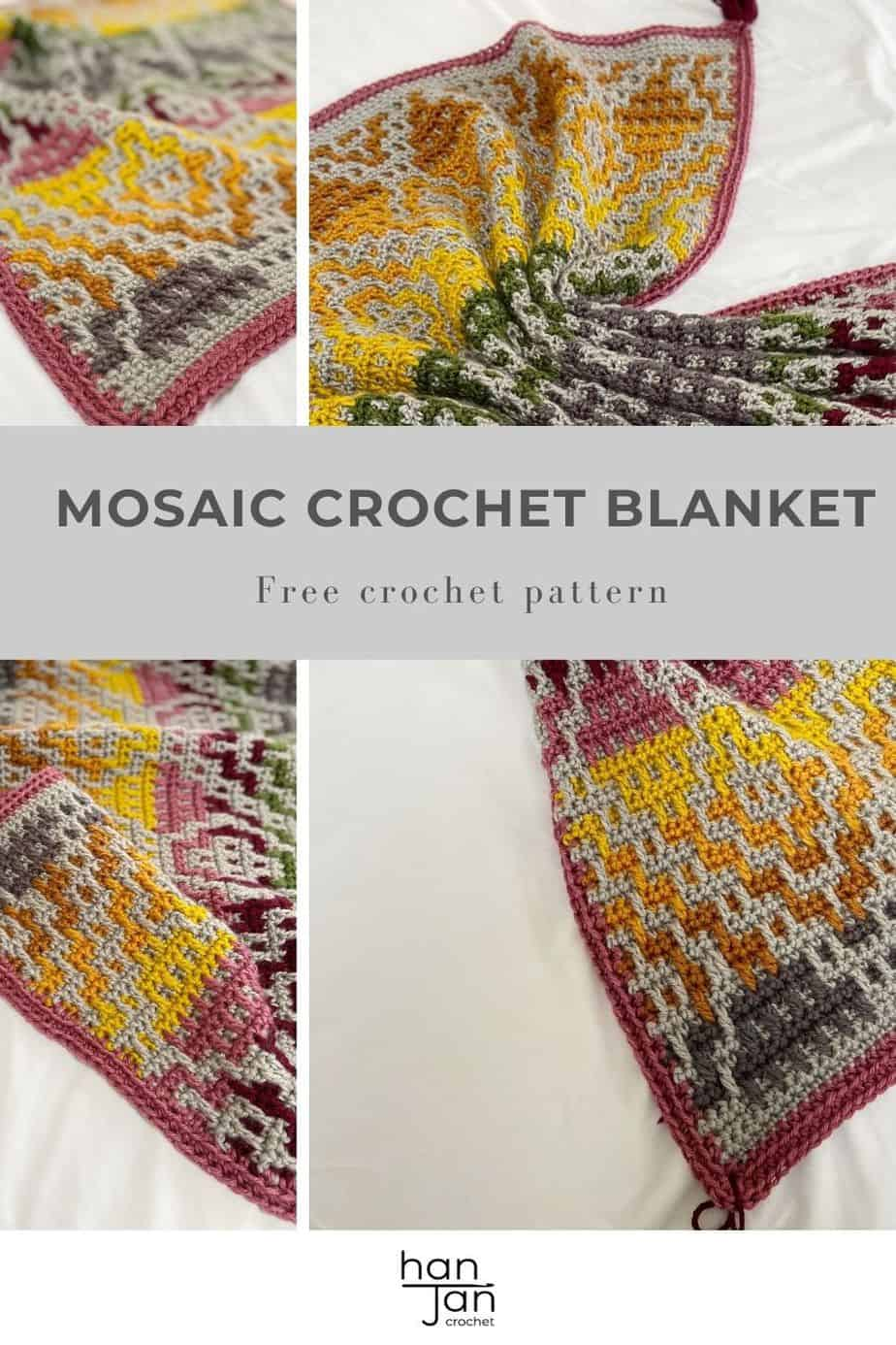Multi colour Wanderer mosaic crochet blanket pattern in worsted weight yarn