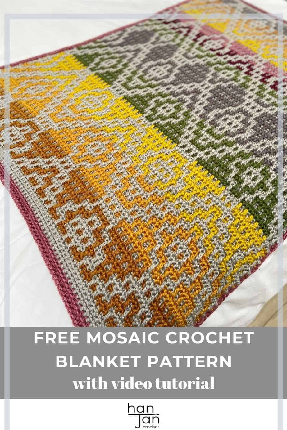 mosaic crochet blanket pattern laid on bed